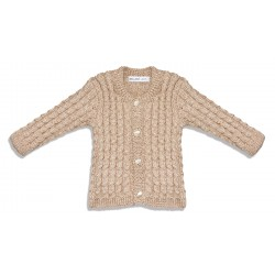 13 - Beige cardigan in natural babycamel and silk yarn, cable-knitting