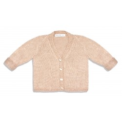 18 - Beige cardigan in natural babycamel and silk yarn classic design