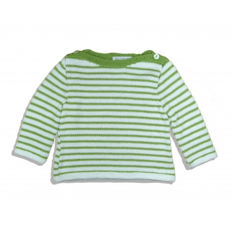40 - Sailor top – 100% cotton with green and white stripes